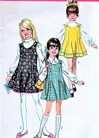 CUTE Girls Flared Mod Mini Dress or Jumper Pattern SIMPLICITY 8423  Princess Seams Twirly Skirted Jumper Size 8 Vintage Sewing Pattern UNCUT