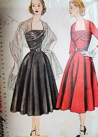 1950s GLAM Evening Party Dinner Dress Pattern SIMPLICITY 8437 Stunning Draped Bodice and Stole Bust 32 Vintage Sewing Pattern