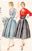 1950s BEAUTIFUL Dress and Bolero Jacket Pattern SIMPLICITY 8441 Shaped Midriff Party Dress, Dramatic Keyhole Neckline Jacket, Includes Embroidery Transfer, Bust 32 Vintage Sewing Pattern