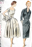 1950s CLASSY Evening Cocktail Party Dress and  Jacket Pattern SIMPLICITY 8467 Sheath Dress with Detachable PanelsShaped Front Short Jacket Bust 32 Vintage Sewing Pattern