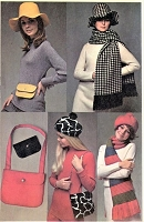 1960s FAB Floppy Hat and Beret Pattern SIMPLICITY 8468 Tam, Brimed Hat, Bags Purses, Scarves Vintage Sewing Pattern FACTORY FOLDED