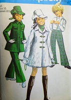 1960s MOD Girls Mini-Coat, Bell-Bottom Pants and Hat Pattern SIMPLICITY 8478 Cute Styles Size 10 Childrens Vintage Sewing Pattern FACTORY FOLDED