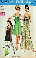 1960s PRETTY Dress with Drawstring V Neckline Simplicity 8487 Bust 32 1/2 Vintage Sewing Pattern