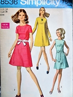 1960s MOD Dress Pattern SIMPLICITY 8536 Three Cute Styles Bust 36 Vintage Sewing Pattern