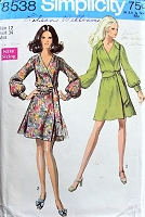 1960s EFFORTLESS Wrap Dress with Sash Simplicity 8538 Bust 34 Vintage Sewing Pattern