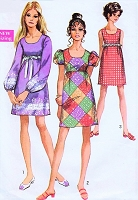 1960s MOD Lolita Empire Mini Dress Pattern SIMPLICITY 8639 Cute Kawaii 3 Styles Bust 32 Vintage Sewing Pattern
