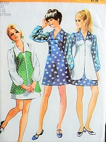 1970s NIFTY Mini-Dress and Vest Vintage Sewing Pattern Simplicity 8710 Bust 32