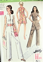1970s FAB Front Zip Jumpsuit Pantdress Mini Skirt Pattern SIMPLICITY 8745 Bust 36 Jiffy Vintage Sewing Pattern