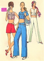 1970s CUTE Hip Hugger Pants, Shorts and Crop Tops Pattern SIMPLICITY 8794 Wide Leg Pants, High Waist Shorts Bust 32 Vintage Sewing Pattern UNCUT
