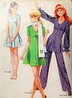 1970s RETRO Mini Dress or Tunic and Pants Pattern SIMPLICITY 8881 Cute Styles Bust 32 Vintage Sewing Pattern