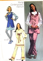 RETRO 70s Mini Dress Tunic Pattern SIMPLICITY 9117 Blouse Vest Pants  Bust 33 Vintage Sewing Pattern UNCUT