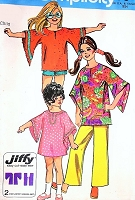 Little Girls MOD Boho Wing Sleeve Dress or Top, Pants or Shorts Pattern SIMPLICITY 9343 Size 6 Vintage Jiffy Sewing Pattern UNCUT