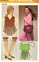 1970s FABULOUS Fringed Vest , Spats and Cross Body Bag Purse Pattern SIMPLICITY 9387 Vintage Sewing Pattern FACTORY FOLDED