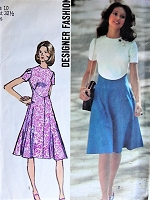 1970s STYLISH Dress with Contrasting Skirt Simplicity 9912 Bust 32 1/2 Retro Sewing Pattern