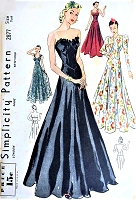 1930s GORGEOUS Formal Gown Ball Gown Evening Dress and Jacket Pattern SIMPLICITY 2877 Three Lovely Styles Pure Glam Bust 34 Vintage Sewing Pattern