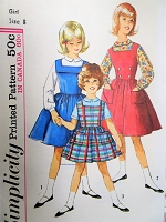 1960s DARLING Girls Jumper Dress and Blouse Pattern SIMPLICITY 5091 Sweet Styles Size 8 Childrens Vintage Sewing Pattern FACTORY FOLDED