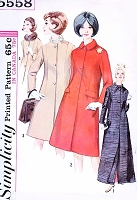 Early 1960s ELEGANT Princess Seam Coat In Two Lengths Simplicity 5558 Day or Evening Coats Bust 34 Vintage Sewing Pattern FACTORY FOLDED