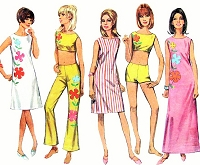 1960s MOD Beachwear Pattern  SIMPLICITY 7017 Slim Dress In 2 Lengths, Midriff Top, Hip Hugger Bell Bottom Pants Shorts Bust 36 Vintage Sewing Pattern + Applique Transfer FACTORY FOLDED