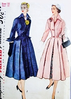 Beautiful 1950s DIOR Inspired Princess Style Coat or Coat Dress Redingote Pattern SIMPLICITY 8472 Nipped In Waist Dramatic Wing Collar and Cuffs Bust 32 Vintage Sewing Pattern