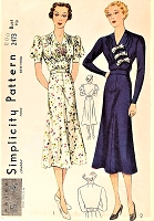 1930s BEAUTIFUL Dress Pattern SIMPLICITY 2473 Flattering Surplice Neckline Two Lovely Style Versions Bust 32 Vintage Sewing Pattern
