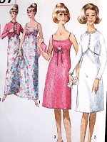 1960s LOVELY Evening Party Prom Dress and Jacket Pattern SIMPLICITY 5957 Slip Style Empire Gown or Cocktail Dress Cutaway Short Jacket Bust 33 Vintage Sewing Pattern
