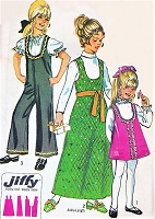 CUTE 70s Girls Jumper Dress and Jumpsuit Pattern Simplicity 9132 Kawaii Mini or Maxi Dress Size 8 Easy To Sew Vintage Sewing Pattern