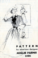 1950s CASUAL CHIC Mollie Parnis Dress Pattern SPADEA 1086 Full Gored Shirtwaist With Detachable Cuffs, Collar and Dickey Bust 32 Vintage Sewing Pattern
