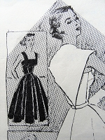 1950s BEAUTIFUL Harvey Berin Party Evening Dress and Cape Pattern SPADEA 1099 Flattering Full Skirt Dress and Capelet Bust 32 Vintage Sewing Pattern