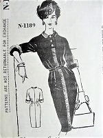 1950s CHIC Slim Dress Pattern Charles LeMaire SPADEA 1189 Ribbon Trimmed Day or After 5 Dress Bust 34 Vintage Sewing Pattern