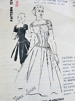 1950s GORGEOUS Evening Cocktail Party Dress Pattern SPADEA 1214 Designer Tina Leser Drop Waist Full Skirted Dress Figure Molding Bodice Bust 35 Vintage Sewing Pattern