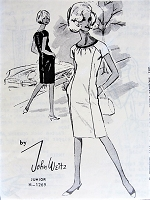 1960s MOD John Weitz Designer Pencil Slim Sheath Dress Pattern SPADEA 1269 Day or After 5 Dress Bust 31 Vintage Sewing Pattern FACTORY FOLDED