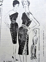 1960s STUNNING Toni Owen Cocktail Evening Party Dress Pattern SPADEA 1292 Sleek Sheath Side Button With Sari-ed Over Opposite Shoulder, UNIQUE Design Bust  35 Vintage Sewing Pattern FACTORY FOLDED