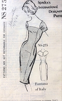 1960s CHIC Sheath Cocktail Party Evening Dress Pattern SPADEA International Designer 275 Fontana of Italy Sleek Figure Flattering Dress Bust 35 Vintage Sewing Pattern