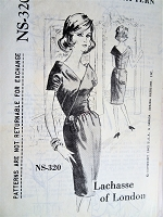 STUNNING Early 60s LACHASSE of London Cocktail party Evening Dress Pattern SPADEA 320 Bust 34 Vintage Sewing Pattern FACTORY FOLDED