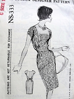 1960s STYLISH Irene Gilbert Slim Dress Pattern SPADEA 333 Lovely Daytime or After 5 Dress Bust 41 Vintage Sewing Pattern