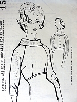 1960s CLASSY Dickey Blouse Pattern SPADEA 454 Designer Dinah Shore Wardrobe Collection Wear Blouse Under Sheath Dress Bust 35 Vintage Sewing Pattern