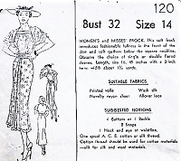 1930s LOVELY Dress with Square Neckline Mail Order Pattern 120 Bust 32 Vintage Sewing Pattern