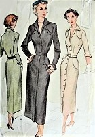 1940s Vintage FEMME FATALE Belted Dress with Pockets McCall 7865 Sewing Pattern Bust 34