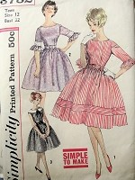 1960s Vintage FLIRTY Belted Dress with Ruffled Sleeves or Sleeveless with Collar Simplicity 3782 Sewing Pattern Bust 32