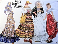 1970s Peasant Bohemian Romantic MAXI Skirts and Shawl Pattern Very Easy VOGUE 1009 Four Beautiful Easy To Sew Styles Waist 25 Vintage Sewing Pattern UNCUT
