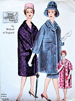 STYLISH 1960s Coat,Skirt and Scarf Pattern VOGUE Couturier Design 1018 Designer Michael of England  3 Versions Day or Evening Bust 34 Vintage Sewing Pattern