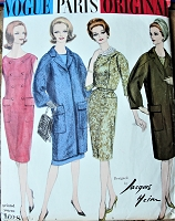1960s CLASSY Jacques Heim Dress and Coat Pattern Slim Double Breasted Dress and Fabulous Dropped Shoulder Coat Bust 38 Vintage Sewing Pattern