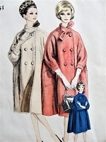 1960 CLASSY Gres Coat Pattern VOGUE Paris Original 1040 Beautiful REVERSIBLE Very Full Coat Kimono Sleeves Bust 34 Vintage Sewing Pattern FACTORY FOLDED