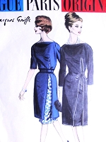 60s STUNNING Jacques Griffe Cocktail Evening or Day Dress and Slip Pattern VOGUE PARIS Original 1044 Classy Design Bust 32 Vintage Sewing Pattern