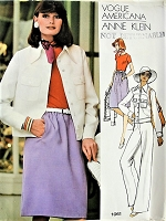 1970s STYLISH Anne Klein Bodysuit, Jacket, Skirt and Pants Vogue 1061 Retro Sewing Pattern