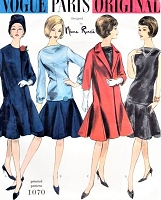 1960s Rare NINA RICCI 30s Style Coat, Skirt and Tunic Blouse Pattern VOGUE Paris Original 1070 Flirty Styles Perfect Cocktail Evening Party Dress and Stunning Coat Bust 34 Vintage Sewing Pattern UNCUT