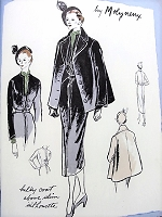 1940s STUNNING Molyneux Bulky Coat and Slim Dress Pattern VOGUE Paris Original Model 1088 High Couture Day or Dinner Dress Bust 30 RARE Vintage Sewing Pattern