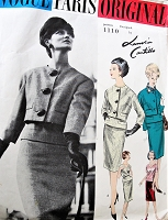 1960 LANVIN CASTILLO Slim Suit and Blouse Pattern VOGUE PARIS Original 1110 Daytime or Evening Cocktail Party Figure Flattering Suit,Overblouse and Scarf Bust 36 Vintage Sewing Pattern FACTORY FOLDED + Label
