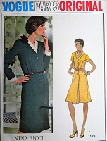 70s CLASSY Nina Ricci Dress Pattern VOGUE Paris Original 1123 Front Button Dress Bust 40 Vintage Sewing Pattern