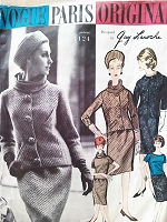 1960s CLASSY Guy Laroche SUIT and Blouse Pattern VOGUE PARIS Original 1124 Slim Skirt Slightly Fitted Jacket Overblouse Draped Turtle Neck or Scoop Neckline Bust 36 Vintage Sewing Pattern Factory Folded +Label